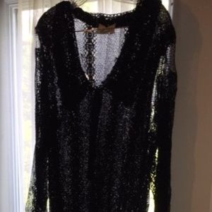 LIM'S Vintage (1970's) Hand Crocheted Black Dress